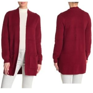 JOSEPH A Cranberry Textured Open Front Cardigan